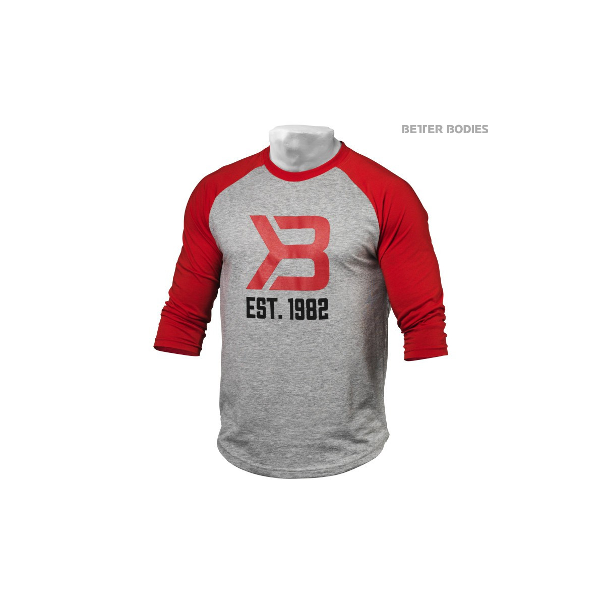 MENS BASEBALL TEE - Red/Grey Melange