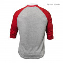 MENS BASEBALL TEE - Red/Grey Melange