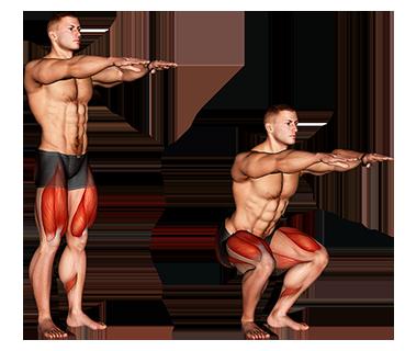 Przysiadowy mężczyzna ćwiczący piktogram