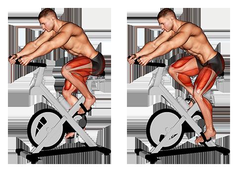 Obrazowym ćwiczeniem cardio mężczyzna jechać na rowerze