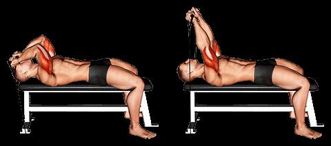 Leżące przedłużenie tricepsu z gumką