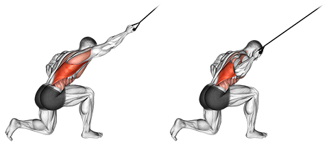 Band kneeling one arm pulldown back seated